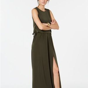 Michael Kors grommet-laced maxi dress ivy